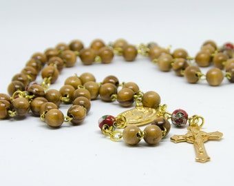 Wood Rosary with red cloisonné beads