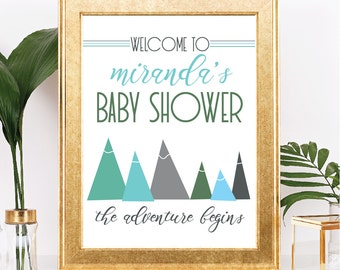 Mountain Baby Shower Sign - Customizable Text - The Adventure Begins Theme  - Printable - 8.5x11 Digital Download