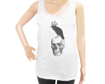 Skull Raven shirt workout tank top hipster tee quote top style tshirt instagram tee women tank top men tank top sleeveless size M L