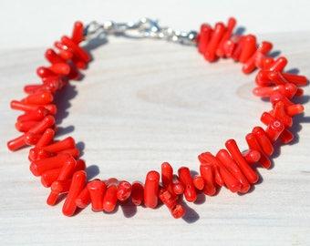 Red coral bracelet, Coral bracelet, Red bamboo coral bracelet, Coral red bracelet, Sea bamboo red coral bracelet, Red coral jewelry