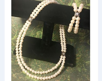 Wedding Formal Ivory Double Strand Pearl Necklace Bracelet Set