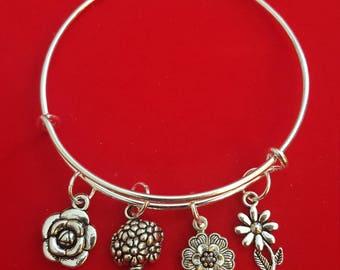 Silver Florist Themed Charm Bracelet