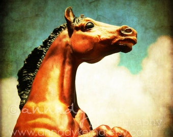 Toy Equestrian Photography - Reach - - Fine Art Photograph - aqua, horse, chestnut, cream