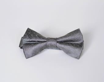 Gunmetal Raw Silk Bow Tie