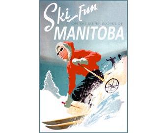 Ski Fun Manitoba Canada Poster New Retro Winter Sports Travel Art Print 302