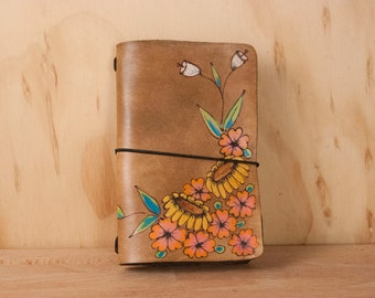 A5 Travelers Notebook - Leather Cover for Midori, leuchtturm1917, Hobonichi Techo, Moleskine, Planner  - Sunflowers + flowers in Brown