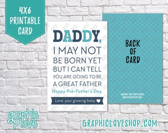 Digital 4x6 Happy Pre-Father's Day Daddy Card from baby, Folded & Postcard included | High Res JPG Files, Instant Download, Ready to Print