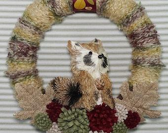 Raccoon Wreath, Fall Wreath, Woodland Wreath, Autumn Wreath, Harvest Wreath, Yarn Wreath, Felt Flower Wreath, Sisal Raccoon Wreath
