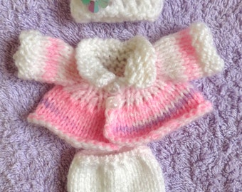 """Hand Knitted Dolls Clothes for 3,5-4""""  OOAK  Doll (# 219)"""