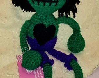 Zombie Doll. Crochet zombie doll. Crochet hulk doll.  Great Christmas gift.  Great birthday gift.  Girl doll. Boy doll.