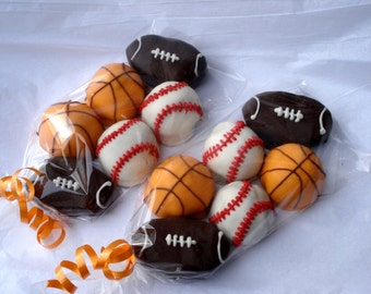 Cake Balls. Baseball Football Basketball Cake pop. Bitty Bites. sports birthday. ONE dozen. gift for guy.  party favor. hostess gift.