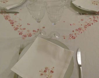 Tablecloth cherry blossoms, pink (square) - square branches patterns