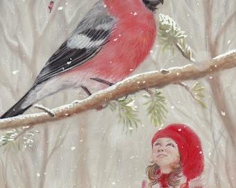 Original Art: Bullfinch and gnome-girl - Christmas, xmas, bullfinch, bird, snow, winter, nisse, tomte, jul, yule, Nordic, Scandinavian.