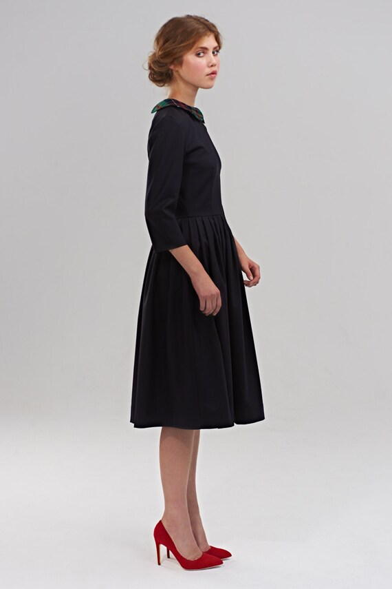 Peter Pan Collar Dress With Pockets Little Black Dress Pleated