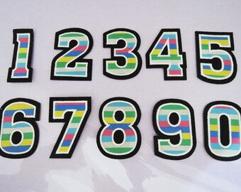 Large Number Patches - One Set of Iron on Patch or Sewing on Patch 0-9 Number Patches Big Sewing Patch Rainbow Color Patch Embellishments