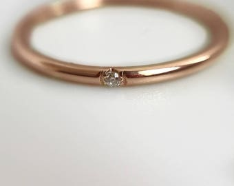 Solitaire Ring- Rose gold ring, Gold Solitaire ring- Handmade Rose Gold Ring