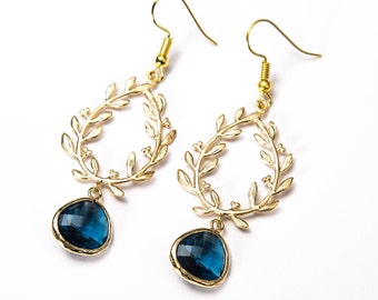 Gold sapphire earrings. Blue and gold earrings. Blue sapphire earrings. Laurel Earrings.