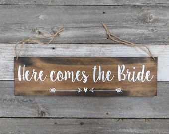 """Rustic Hand Painted Wood Sign """"Here comes the Bride"""" - Ring Bearer, Flower Girl - 20""""x5.5"""""""