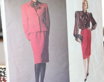 Vogue 1925 Givenchy Misses Jacket Blouse Skirt -- Vogue Paris Original -- Size 12 -- Lined Semi Fitted Jacket -- 1987