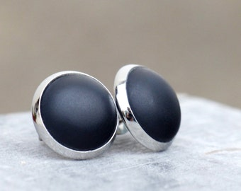 Noble, matt black Studs