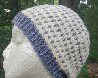Hand Spun Hand Crocheted Bluish Natural Hat