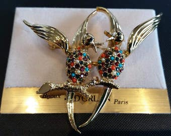 BT-D'Orlan 2 birds on branch Buried Treasure brooch with handset Swarovski crystals