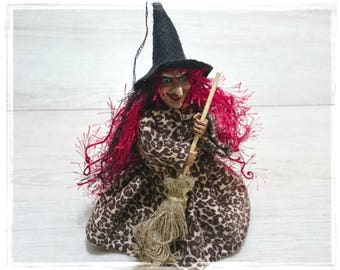 Good Luck Kitchen WITCH, Kitchen Witch Doll, Witch Doll, Witch on Broom, Horror Decor, Hanging Witch, Fairy Figurine, Witch,  Hedge Witch