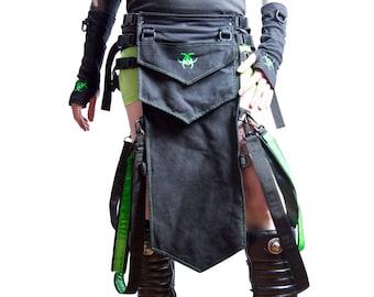 DSF Transfigurator Breechclout - Cybergoth Loincloth Loin Cloth Butt Flap Bondage Strap Symbol Star Bioahazard Red purple black Blue green