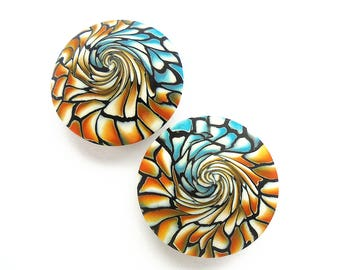 2 handmade orange blue beads, lentil beads, Polymer clay beads, Handmade beads, Swirl beads, Unique beads, Craft beads, Round beads