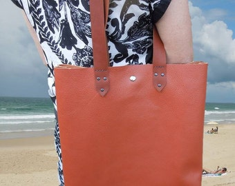Tangerine Orange Leather Bag