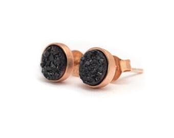Black Druzy in Rose Gold Stud Earrings - Druzy / Drusy Quartz Studs - 24k Rose Gold Vermeil Stud Earrings - Round 6mm - Bezel Set