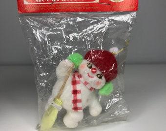vintage flocked plastic snowman Christmas tree ornament in original package