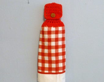Hanging Kitchen Towel Checkered Red and White Doubled Towel
