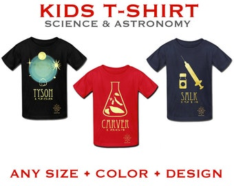 Kid's Science Shirt. Scientist T-shirt. Children's Space T-shirt, Boys Geek T-shirt, Nerdy Clothing, Geeky Clothing, Science Gift for Kids