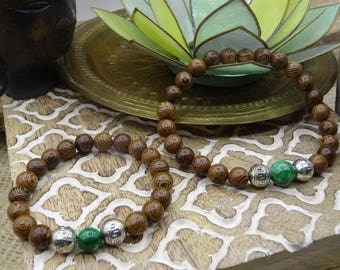 Malas duo gift couple Valentine wood Redwood malachite and metal bead
