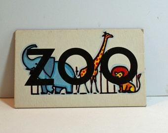 Vintage Flash Card ZOO Picture Card Nursery Decor Ephemera Blue GIRL Word Flashcard