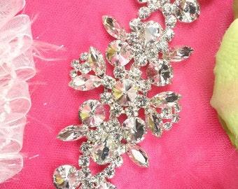 """XR163 Silver Crystal Rhinestone Applique Embellishment 8"""" (XR163-slcr)"""
