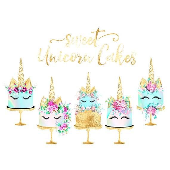 Unicorn Cake Clipart Gold Foil Cake Shabby Chic Clipart