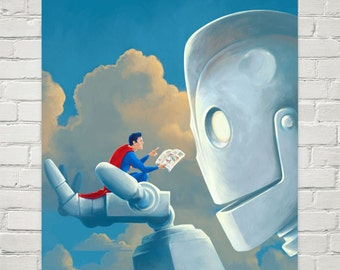 Iron Giant Print Storytime Superman painting reproduction