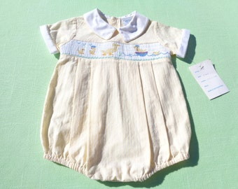 vintage friedknit creations boys easter romper with smocking size 3 months see measurements new with tags with duck design yellow pin stripe