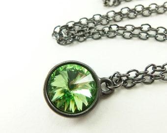 August Birthstone Jewelry Peridot Birthstone Necklace Peridot Jewelry Crystal Necklace Dark Silver Gunmetal Rivoli