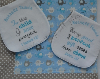 Blanket and Burp Cloths Gift Set, Blue and Gray, Elephants, Bible Verses