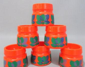 six retro bright orange egg cups - 1970s Emsa Gift men woman kitchen decoration