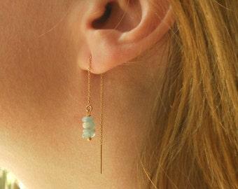 Raw Aquamarine Earrings, Gold Threader Earrings, Silver Chain Earrings, Long Earrings, Thread Earrings, March Birthstone Stone Earrings
