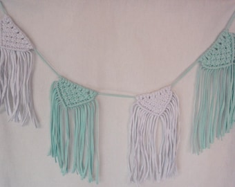 Turquoise and white fabric Garland