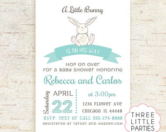 Boy Bunny Baby Shower Invitation, Girl Baby Shower Invitation, Boy Printable Rabbit Baby Shower, Invitación Conejito,  Invitacion Conejita