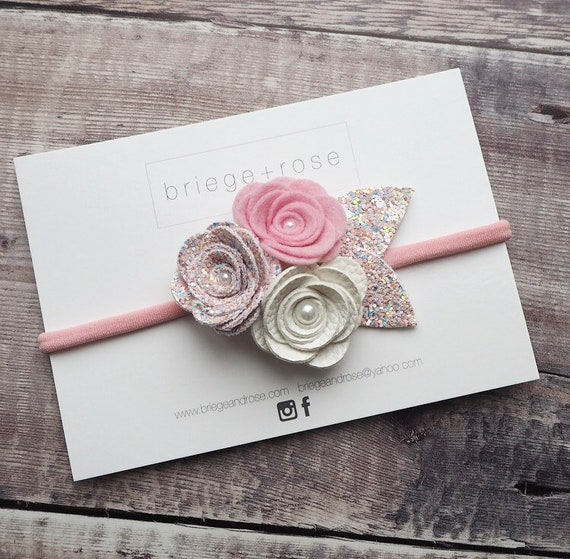 Blush tie back, floral wedding headband, newborn photo shoot prop, baby girl 1st birthday, pale pink headband, glitter flower crown