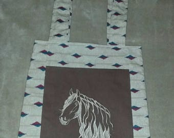Horse reversible tote bag handmade embroidered book bag  shopping bag reusable grocery bag craft tote