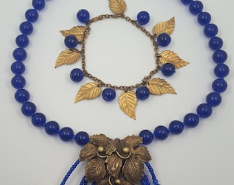 Vintage necklace and bracelet brass leaves and blue glass leaves OOAK assemblage pieces