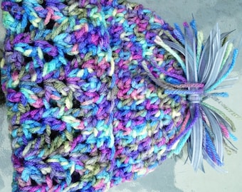 Handmade crochet unisex beanie fits birth to 6 months. Variegated colors in purple, blue, green and yellow.  Photo prop, Baby shower/ gift..